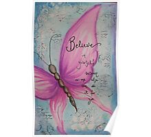Pink butterfly painting Poster