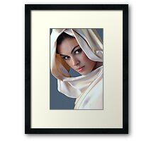Portrait of sophisticated brunette woman Framed Print