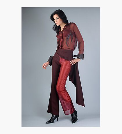 Portrait of sophisticated brunette woman in red suit Photographic Print