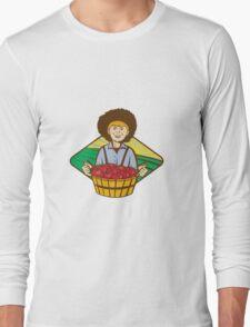 Farmer Boy Straw Hat Tomato Harvest Long Sleeve T-Shirt