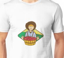 Farmer Boy Straw Hat Tomato Harvest Unisex T-Shirt