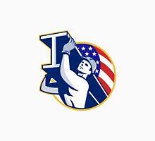 Construction Steel Worker I-Beam American Flag Unisex T-Shirt