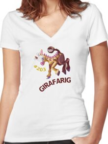 Girafarig Hopping - Pokemon Women's Fitted V-Neck T-Shirt