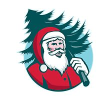 Santa Claus Carrying Christmas Tree Retro by retrovectors