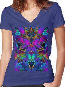 Floral Fractal Art Women's Fitted V-Neck T-Shirt