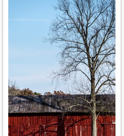 Red Barn With Tree Sticker