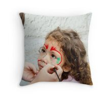 Little Girl Getting Her Face Painted Throw Pillow