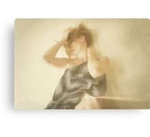 Beautiful vintage young attractive caucasian woman Canvas Print