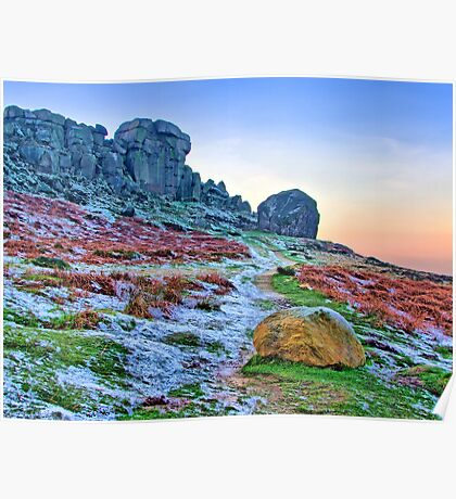 Cow And Calf Rocks Ilkley - HDR Poster