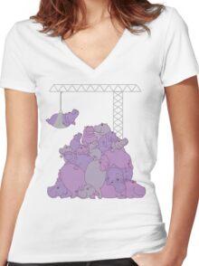 Hippopotapile - the more the merrier! Women's Fitted V-Neck T-Shirt