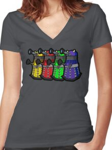 Beware the Daleks! Women's Fitted V-Neck T-Shirt