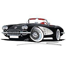 Chevrolet Corvette (58-62) Black Photographic Print