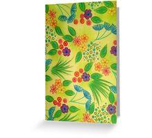 WILDFLOWER FANCY 3 - Cheerful Fresh Green Lovely Floral Garden Pattern Girly Feminine Trendy Flowers Greeting Card