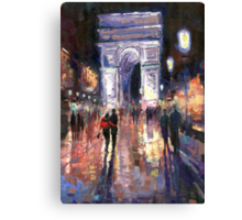 Paris Miting Point Arc de Triomphie Canvas Print