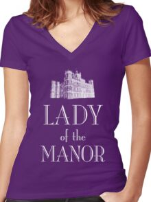 Lady of the Manor (white) Women's Fitted V-Neck T-Shirt