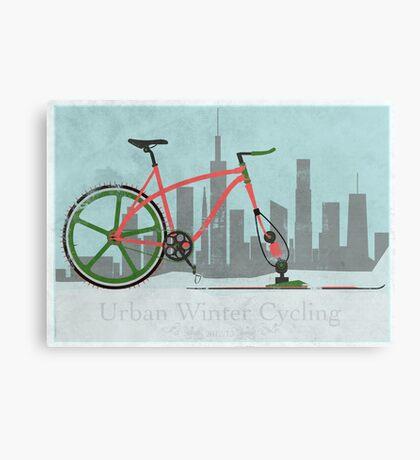 Urban Winter Cycling Canvas Print