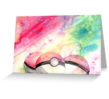 Pokeballs - watercolour Greeting Card