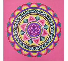 Rainbow colours mandala energy design Photographic Print
