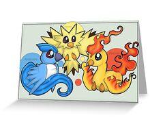 Pokemon Legendary Bird trio Moltres Zapdos Articuno Greeting Card