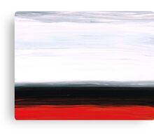 White Horizon - Abstract Red And Black Landscape Art Canvas Print