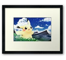 Pokemon Pikachu Cute Sky Art Framed Print