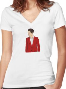 Red Suit Women's Fitted V-Neck T-Shirt