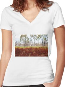 Outback lakeview, off highway between Lightning Ridge and Moree, NSW Women's Fitted V-Neck T-Shirt