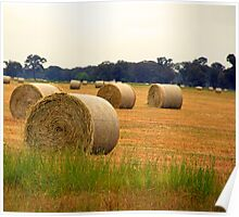 Hay Bale at Dusk Poster