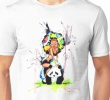 Panda Bear Space Afro Rock Unisex T-Shirt