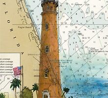 Ponce Inlet Lighthouse FL Nautical Map Chart Cathy Peek by Cathy Peek