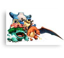 Pokemon Awesome Ash Red Starter Pokemon and Pikachu Indigo GB Crew Canvas Print