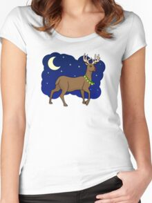Night Reindeer Women's Fitted Scoop T-Shirt