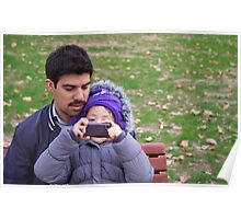 Father And Daughter Taking Photographs  Poster