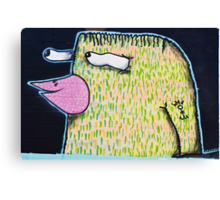 Graffiti Bird on the textured wall Canvas Print