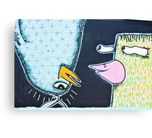 Two weird Graffiti Birds Canvas Print