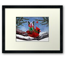 The Cardinal & The Christmas Fairy Framed Print