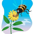 Happy cartoon bee with yellow flower by martyee