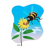Happy cartoon bee with yellow flower Photographic Print