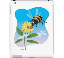 Happy cartoon bee with yellow flower iPad Case/Skin