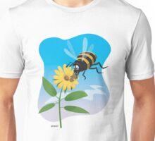 Happy cartoon bee with yellow flower Unisex T-Shirt