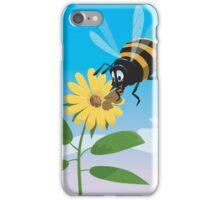 Happy cartoon bee with yellow flower iPhone Case/Skin