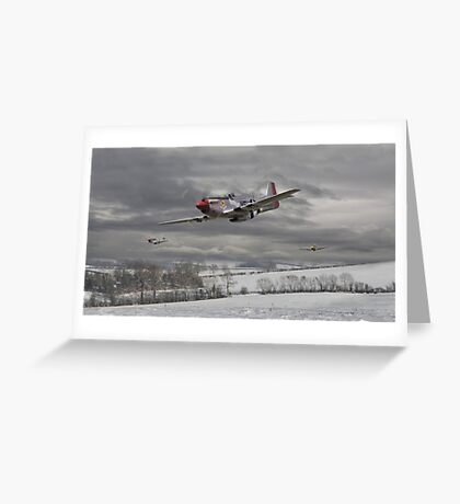 P51 Mustang - Winter Freedom Greeting Card