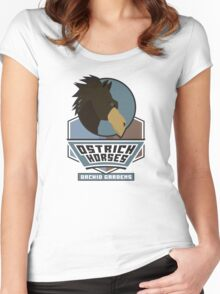 Orchid Gardens Ostrich Horses Women's Fitted Scoop T-Shirt
