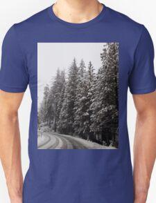 Road through Snowy Woods Unisex T-Shirt