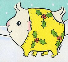 Fluffy White Guinea-pig in a Christmas Onesie - Watercolor by zoel
