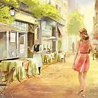The bright Morning. A cafe in Paris. by Natasha Tabatchikova
