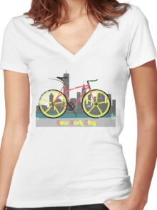 Love New York, Love to Cycle Women's Fitted V-Neck T-Shirt