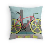 Love New York, Love to Cycle Throw Pillow