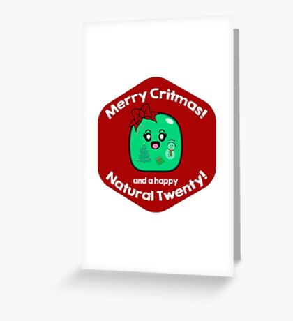 Merry Critmas & Happy Natural 20! Gamer Christmas - Gelatinous Cube Greeting Card