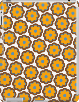 Retro colors floral pattern by CatchyLittleArt